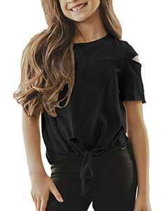 UMEKO Girls T Shirt Summer Short Sleeve Tie Knot Front Cute Kids Distressed Tops Blouses Black