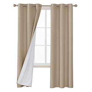 Deconovo Faux Linen Blackout Curtains with 3 Pass Coating Sun Blocking Thermal Insulated Room Darkening Grommet Curtains Panels for Bedroom 42 x 84 Inch 2 Panels Champagne
