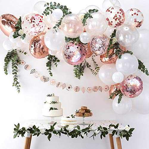 DIY Rose Gold Balloons Garland Kit 70pcs Latex Balloons Confetti Balloons Foil Balloons Combination Arch Garland Banner for Birthday Wedding Party Photo Booth Backdrop Venue Decor (Rose gold)