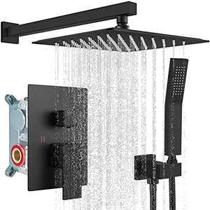 Rainfall Shower System Matte Black with High Pressure 10 inch Shower Head Hand Held Square Shower Head Bathroom Luxury Rain Mixer Shower Complete Combo Set Wall Mounted