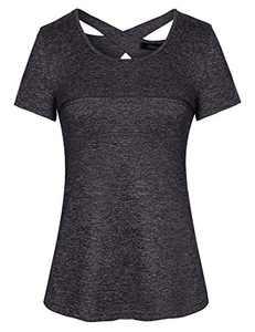 Sykooria T-Shirt Womens Sports Shirt Short Sleeve Quick Dry Elastic Yoga Gym Tshirt Tops(Deep Grey-321,Medium)