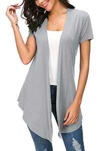 Womens Solid Open Front Short Sleeve Cardigan (S, Light Grey)
