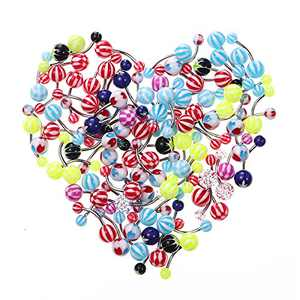 Lurrose Acylic Belly Button Navel Rings Piercing Studs Jewelry for Body Decoration 100 Pcs (Mixed Color)