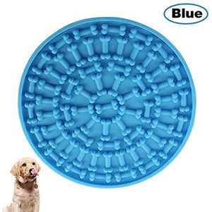 COPACHI Dog Lick Pad, Slow Treat Feeder Mat with Super Suctions, Dog Washing Distraction Device, Dog Lick Mat for Pet Bathing, Grooming, and Training, Just Spread Peanut Butter(Blue