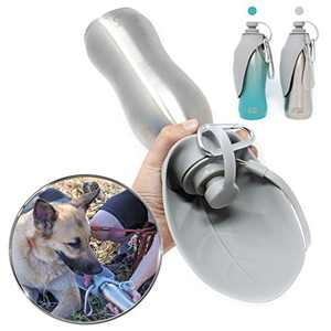 Grila Just4GSD Dog Water Bottle -Food Grade Stainless Steel & Silicon Bowl no BPA Great for Staying hydrated Hiking Walking Travel Dogs. (Stainless Steel)