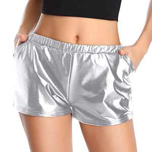 Urban CoCo Women's Shiny Metallic Elastic Waist Shorts (XL, Silver)