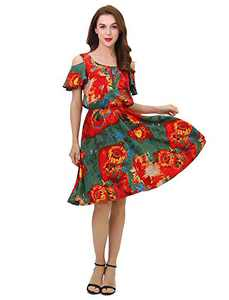 Women's Summer Cold Shoulder Ruffle Sleeve Printed Casual Short Swing Dress with Pockets (Small, Red)