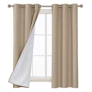 Deconovo Faux Linen Blackout Curtains with 3 Pass Energy Efficient Thermal Insulated Coating Room Darkening Curtains Drapes for Dining Room 42 x 72 Inch 2 Curtain Panels Champagne