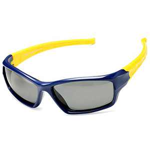 DeBuff Kids Polarized Sunglasses Unbreakable TR90 Frame for Boy Girl Age 3-12, with Eyeglasses Rope (Dark-Blue/Yellow)