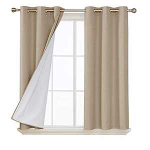 Deconovo Faux Linen Blackout Curtains with 3 Pass Coating Noise Reduction Curtain Thermal Insulated Room Darkening Curtains for Office Room 42 x 45 Inch 2 Panels Champagne