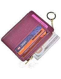Womens Slim RFID Credit Card Holder Mini Front Pocket Wallet Coin Purse Keychain (Lichee Purple)