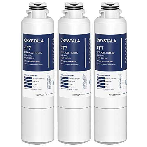 Crystala Filters DA29-00020B Refrigerator Water Filter Replacement for Samsung, IAPMO R&T 53&42 Certified Cartridges Compatible with DA29-00020A/B, DA2900020B, HAF-CIN, HAF-CIN/EXP, 46-9101 - 3 Pack