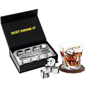 Whiskey Stones 8 PCS Metal Ice Cubes Stainless Steel Ice Cubes Reusable Whisky Ice Stone Beverage Chilling Rocks, Gift Sets with Ice Tong for Man