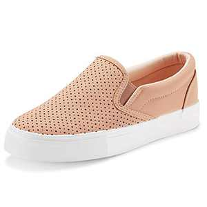 JENN ARDOR Women's Fashion Sneakers Perforated Slip on Flats Comfortable Walking Casual Shoes (7.5, Pink)
