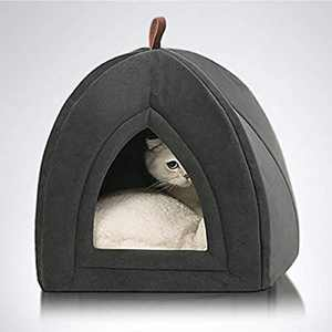 BEDSURE Cat Cave Bed Igloo - Small Cat Tent Bed House with Removable Washable Cushion Pillow Foldable Portable Pet Bed, Dark Grey, 35x35x38cm