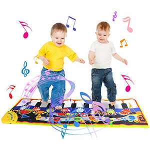Joyfia Musical Mat, Kids Toys for 1 Year Old, Piano Keyboard Dance Floor Mat, Musical Instruments Blanket Touch Playmat, Early Education Music Toys Gift for Baby Toddler 3-5 Girls Boys (43.3x14.2in)