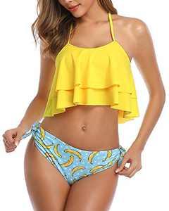 Aqua Eve Women Halter Flounce Bikini High Waisted Tummy Control Swimsuits Ruffle Two Piece Bathing Suits Yellow Large