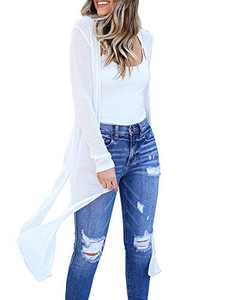 Tutorutor Womens Long Sheer Cardigan Summer Lightweight Open Front Draped Kimono Loose Knit Duster Coat White