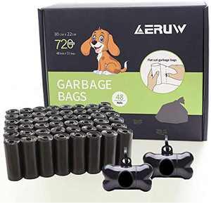 Dog Poop Bag, Pet Dog Waste Bags 720-counts 48 Refill Rolls with 2 Dispensers & Leash Clip Easy Tear-off Poo Pickup Bags Pooper Scooper Leak-off Pet Supplies (Black48)