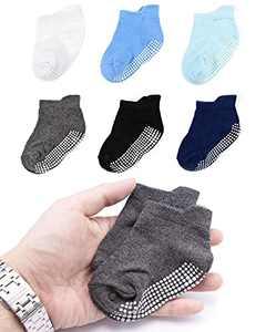 Toddler Infant Boys Girls Grip Ankle Socks Non Slip Anti Skid Socks 6 Pairs Socks Gift Set (12-36 months, 6 pack boys)
