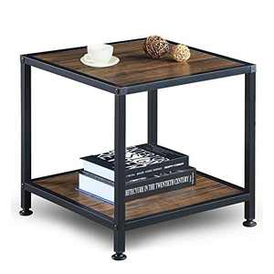 GreenForest End Table with Storage Shelf 2 Tier Metal Frame Side Table for Living Room Bedroom, Easy Assembly, Walnut