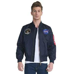 CORIRESHA Mens Apollo NASA Patches Slim Fit Bomber Jackets Windbreaker Blue
