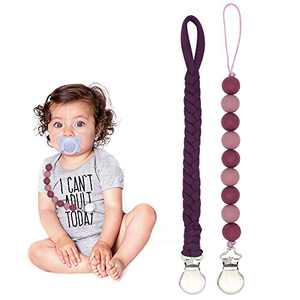 Handmade Braided Pacifier Clip Leashes - 2 Pack Pacifier Leash Binky Clips Infant Baby Shower Gifts (Violet Red)