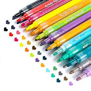 Acrylic Paint Marker Pens, Paint Pens for Rocks Painting, Wood, Fabric, Plastic, Canvas, Glass, Mugs, DIY Arts Crafts Greeting Cards Making, Art School Supplies Acrylic Paint Pens Set of 24 Colors
