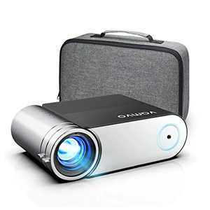 """Vamvo Projector, Mini Portable Projector 1080p Full HD 5500 Lux with Dolby 200"""" Display, Video Phone Projector Compatible with Smartphone/Laptop/TV Stick/ PS4 for Outdoor Camping Home Theatre"""
