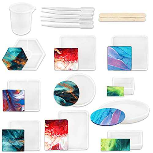 YGEOMER 26pcs Silicone Resin Mold DIY Coaster for Square Rectangle Elliptical Round Hexagon Ashtray Molds Kit with Resin Concrete Cement, Flower Leaves Specimen, Home Decoration