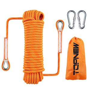 TOPNEW Outdoor Climbing Rope 10 MM Diameter, 10M(32ft) 20M(64ft), Escape Rope Fire Rescue Parachute Rope Climbing Equipment Rock Climbing Rope, Nylon (Orange, 20M (64ft))
