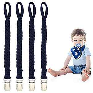 Handmade Baby Pacifier Holder- 4 Pack Universal Pacifier Braided Fits All Pacifiers &Teething Toys (All Navy Blue)
