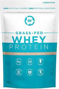 Grass Fed Whey Protein Vanilla 5 Serving Trial Size - 100% Pure and Natural - 5 Serving - 24g Protein - Cold Processed - Non-GMO - rBGH-Free - High Quality from Happy Healthy Cows USA
