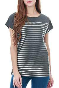 Smallshow Women's Tops Short Sleeve Striped Patchwork O-Neck Casual T Shirt Large Dim Grey
