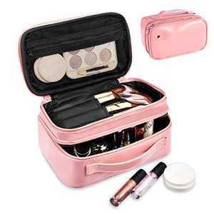 Makeup Bag, Viridian Mist Travel Organizer with Brush Holder, Portable Multifunctional Cosmetic Bag for Women Girls, Zipper Pouch, 2 Layer, Peach Pink (Peach Pink)