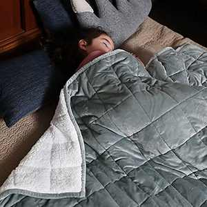 Syrinx Kids Weighted Blanket 5 pounds (36''x 48'', Dark Grey/White) Soft Sherpa Fleece Blanket with Glass Beads