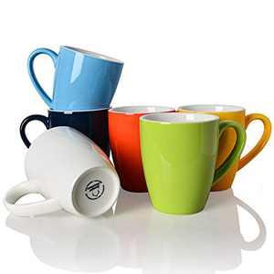 SWEEJAR Porcelain Mug Set, 15 OZ for Coffee, Tea, Latte, Cocoa, Women, Men, Set of 6