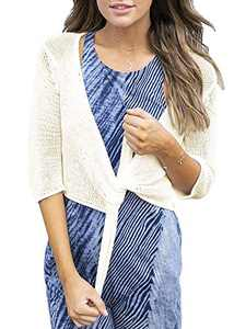 Tutorutor Womens Bolero Sheer Shrug Cardigans Lightweight Cropped 3/4 Short Sleeve Tie Knot Summer Knitted Cover Up Beige