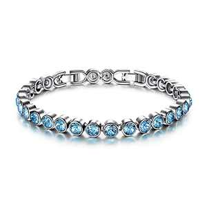 LADY COLOUR Bracelet Tennis Bracelet Aquamarine with Crystals Jewelry Gifts for Women Mom Birthday Gifts for Her Ladies Girls Girlfriend Wife Sister Couples Gifts with Gift Box