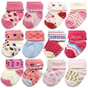 Baby Girl Socks for Infant Toddler with Grips Anti Slip Cotton 6-12 Months