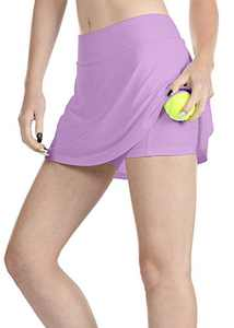 icyzone Athletic Skirts for Women - Workout Running Golf Tennis Skort with Pockets (S, Lilac)