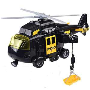 OMGTOY Military Helicopter, Airforce Airplane Toy with Hanging Basket Lights and Sounds for Kids(Black)