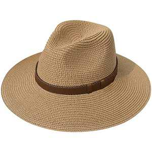 Lanzom Women Wide Brim Straw Panama Roll up Hat Fedora Beach Sun Hat UPF50+ (X Belt-Brown)