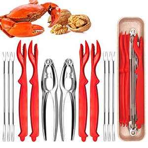 12Pcs Seafood Tools Set, Crab Leg Crackers And Tools - 2 Crab Crackers, 4 Lobster Shellers, 6 Crab Leg Forks/Picks Nut Cracker Forks Set, Opener Shellfish Lobster Leg Sheller Knife Kitchen Accessories