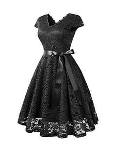 Women's Retro Floral Lace Cap Sleeve Vintage Swing Bridesmaid Dress (M, Sleeveless,Black)