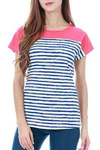 Smallshow Women's Tops Short Sleeve Striped Patchwork O-Neck Casual T Shirt Large SVP091