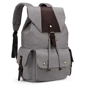 Kattee Canvas Backpack for Men Women Casual Leather Travel Backpack Hiking Backpack School Rucksack Gray