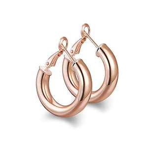 wowshow Small Chunky Thick Good Hoops Earrings for Women Rose Gold Hoops