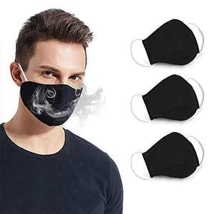 3 Cotton Face Washable Reusable, 2 Layer Cloth Breathable and Warm, Anti Dust in Cycling Camping Travel for Men ( Black)