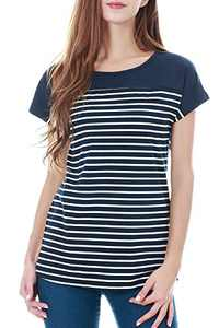 Smallshow Women's Tops Short Sleeve Striped Patchwork O-Neck Casual T Shirt Large Navy
